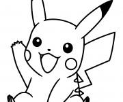 Coloriage Pokémon Pikachu te salue