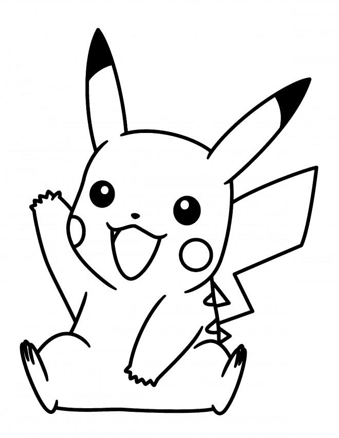Coloriage pok mon pikachu te salue dessin gratuit imprimer - Pikachu dessin anime ...