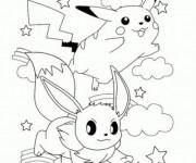 Coloriage Pokémons Pikachu et Evoli sous les Nuages