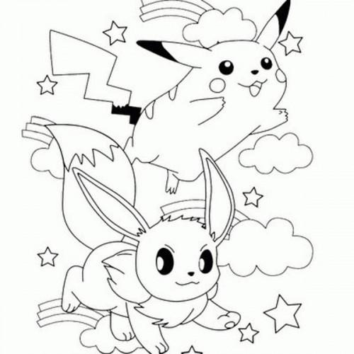 Coloriage Pokemons Pikachu Et Evoli Sous Les Nuages