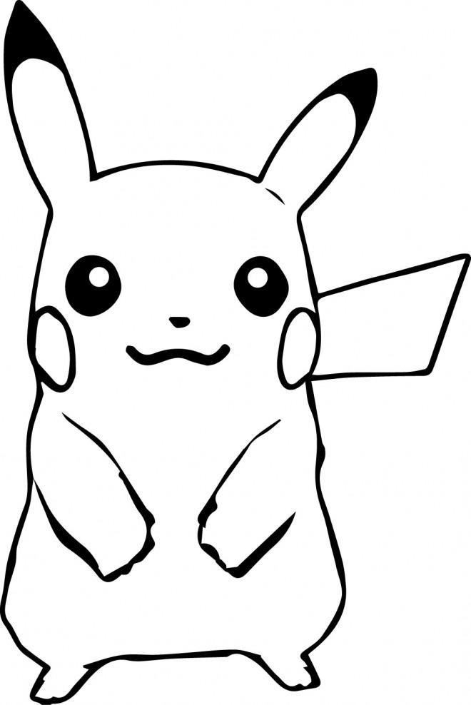 Coloriage portrait de pikachu dessin gratuit imprimer - Dessin de pokemon facile ...