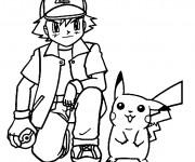 Coloriage et dessins gratuit Sacha et son Pokémon Pikachu à imprimer