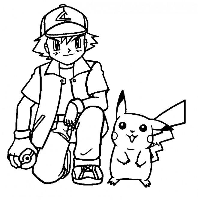 Coloriage Sacha et son Pokémon Pikachu dessin gratuit à imprimer