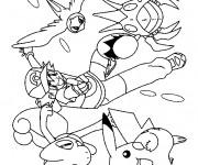 Coloriage Sacha Lance ses Pokémons