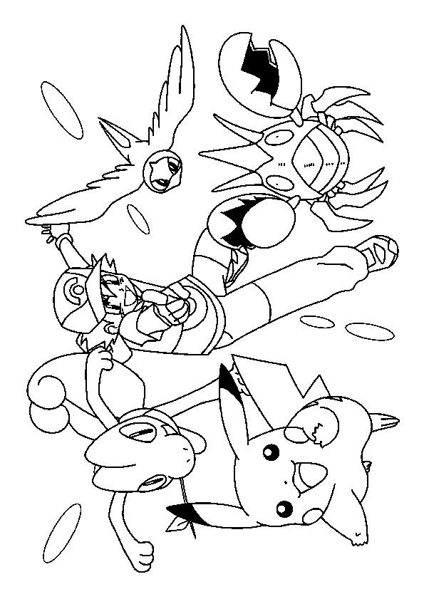 Coloriage et dessins gratuits Sacha Lance ses Pokémons à imprimer