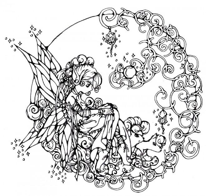 Coloriage et dessins gratuits Adulte ange Mandala à imprimer