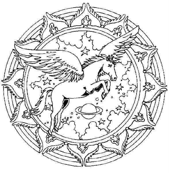 Coloriage et dessins gratuits Adulte Cheval avec des ailes à imprimer