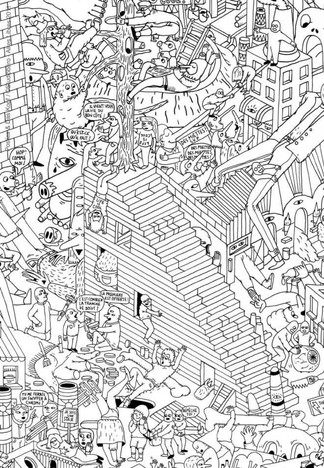 Coloriage et dessins gratuits Adulte Difficile Vie moderne à imprimer
