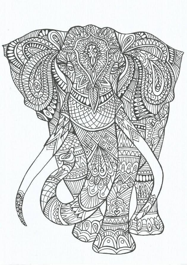 Coloriage et dessins gratuits Adulte Éléphant Anti-stress à imprimer