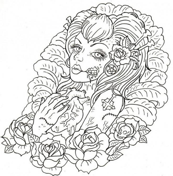 Coloriage adulte femme et coeur difficile dessin gratuit - Coloriages adultes ...