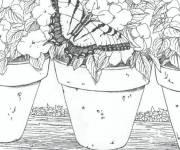 Coloriage et dessins gratuit Adulte fleurs et papillon à imprimer