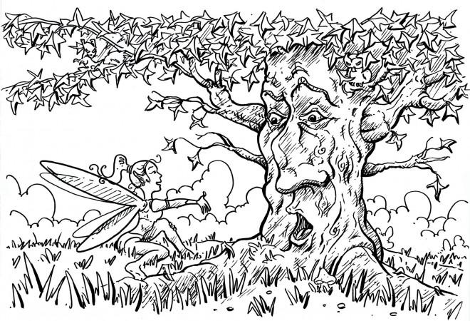 Coloriage et dessins gratuits Adulte Paysage d'arbre magique à imprimer