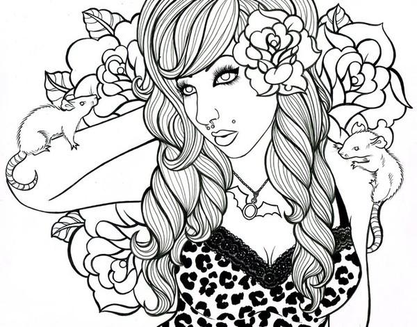 Coloriage et dessins gratuits Beauté Pour Adultes en vecteur à imprimer