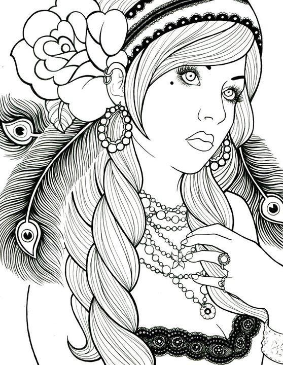 Coloriage et dessins gratuits Belle Femme Adulte vecteur à imprimer