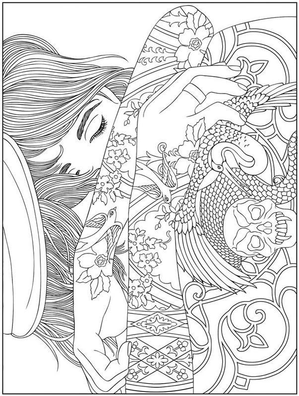 Coloriage et dessins gratuits Fille dormante Pour Adultes à imprimer