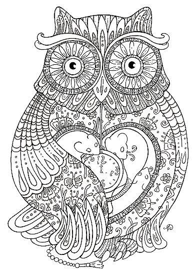 Coloriage et dessins gratuits Hibou en coeur Pour Adultes à imprimer