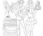 Coloriage et dessins gratuit Barbie à l'école des princesses à imprimer