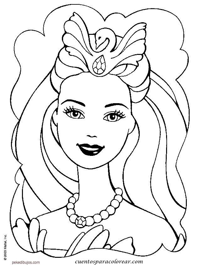 Coloriage Princesse Visage.Coloriage Barbie Avec Le Visage Angelique Dessin Gratuit A Imprimer