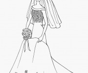 Coloriage Barbie en Robe de Mariée