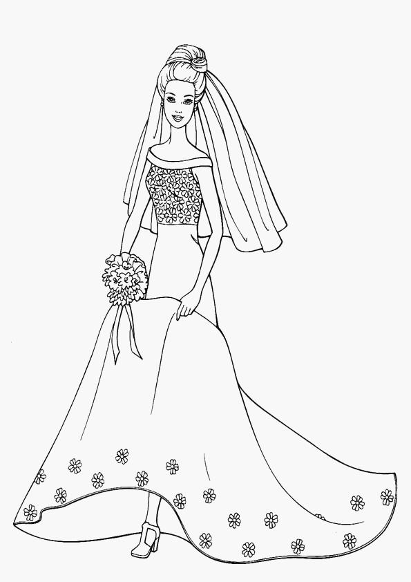 Coloriage barbie en robe de mari e dessin gratuit imprimer - Photo de barbie a imprimer ...