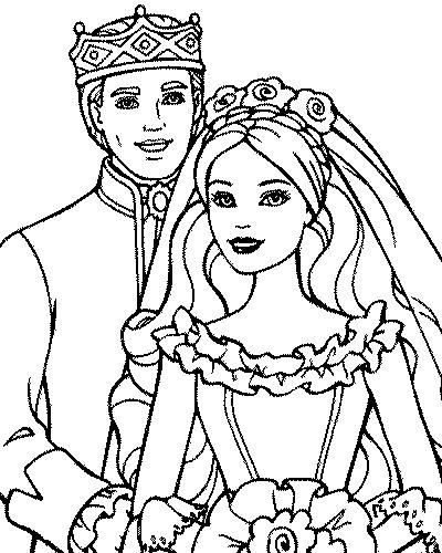 Coloriage et dessins gratuits Barbie et Le Prince à imprimer