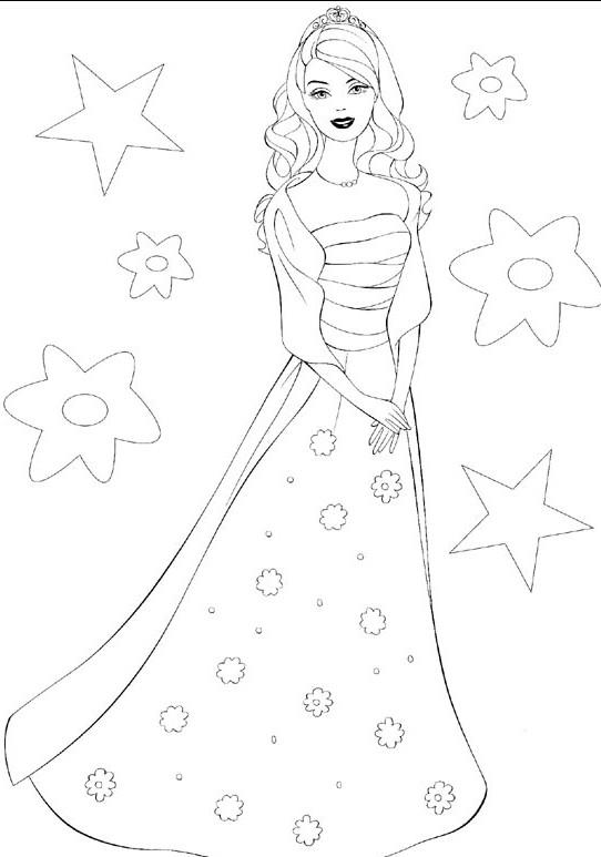 Coloriage et dessins gratuits Barbie et Les étoiles à imprimer