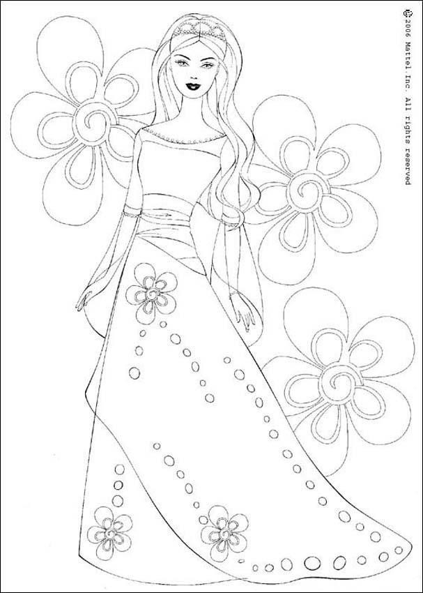 Coloriage et dessins gratuits Barbie et Les Fleurs à imprimer