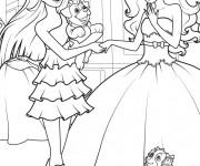 Coloriage Barbie et sa copine à télécharger