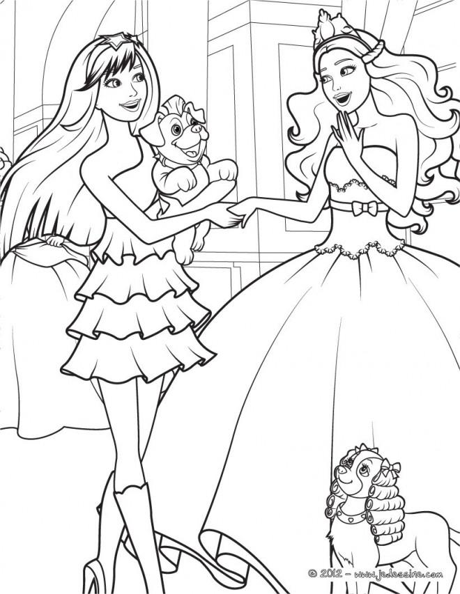 Coloriage et dessins gratuits Barbie et sa copine à télécharger à imprimer