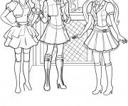 Coloriage Barbie et ses amies vecteur