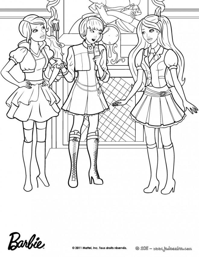 Coloriage Barbie Et Ses Amies Vecteur Dessin Gratuit A Imprimer
