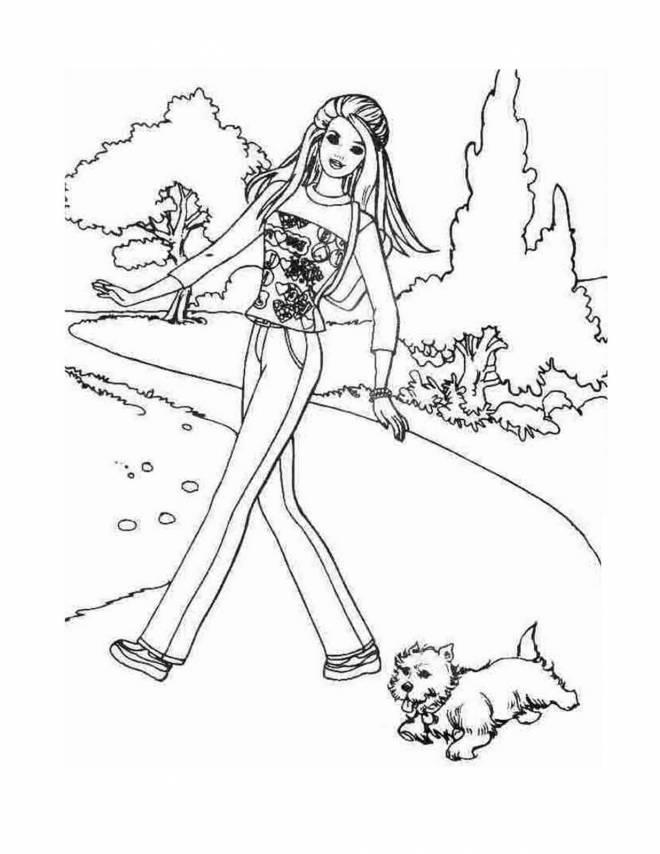 Coloriage et dessins gratuits Barbie et son chien en balade à imprimer