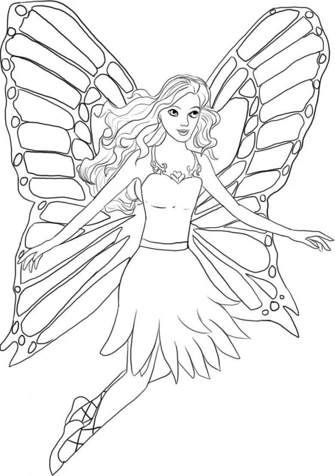 Coloriage et dessins gratuits Barbie Papillon à imprimer