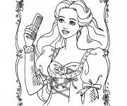 Coloriage Barbie portant La Brosse