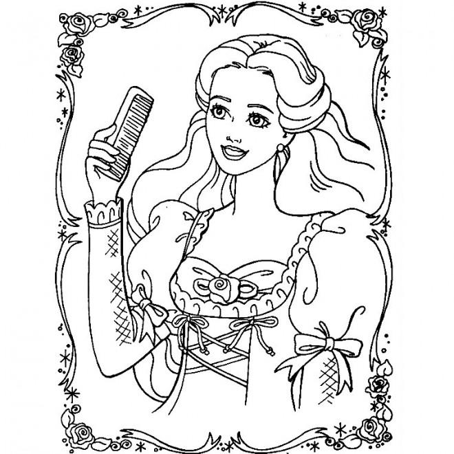 Coloriage et dessins gratuits Barbie portant La Brosse à imprimer