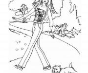 Coloriage dessin  Barbie promène son chien