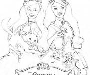 Coloriage et dessins gratuit Barbies et leurs amis à imprimer
