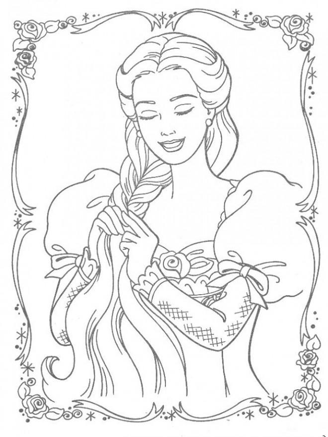 Coloriage et dessins gratuits La belle Barbie pour fille à imprimer