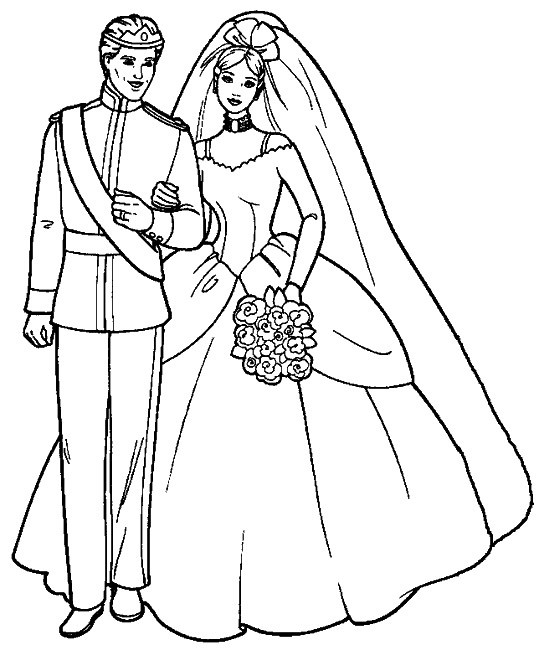 Coloriage mariage de barbie en couleur dessin gratuit imprimer - Barbie princesse coloriage ...