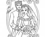 Coloriage Mariage de Princesse Barbie