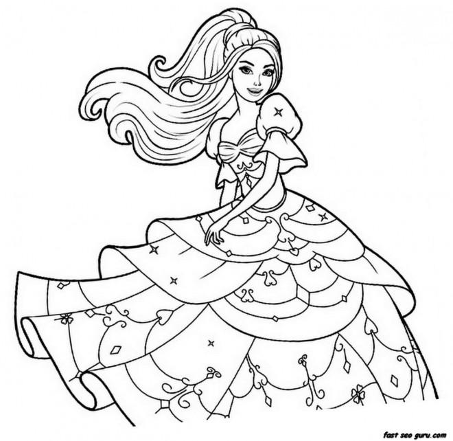 Coloriage et dessins gratuits Princesse Barbie à colorier à imprimer