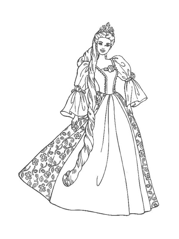 Coloriage et dessins gratuits Princesse Barbie à découper à imprimer