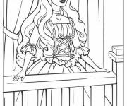 Coloriage et dessins gratuit Princesse Barbie à sa fenêtre à imprimer