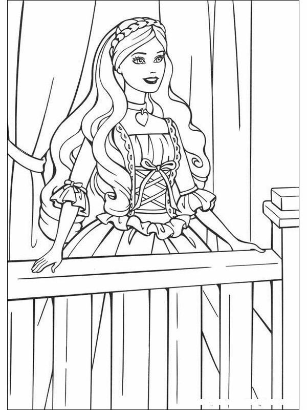 Coloriage et dessins gratuits Princesse Barbie à sa fenêtre à imprimer