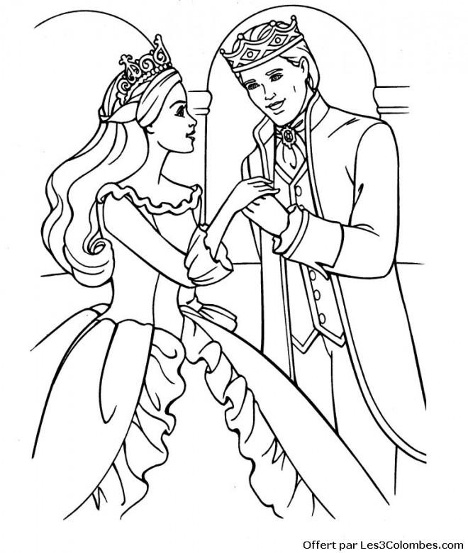 Coloriage et dessins gratuits Princesse Barbie amoureuse à imprimer