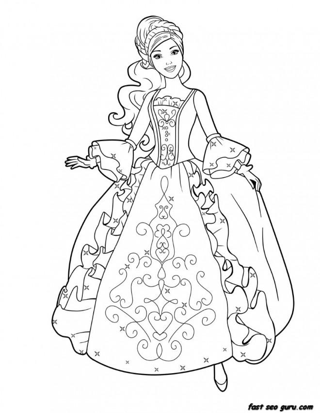 Coloriage et dessins gratuits Princesse Barbie charmante à imprimer