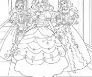 Coloriage Princesse Barbie dans Le Château