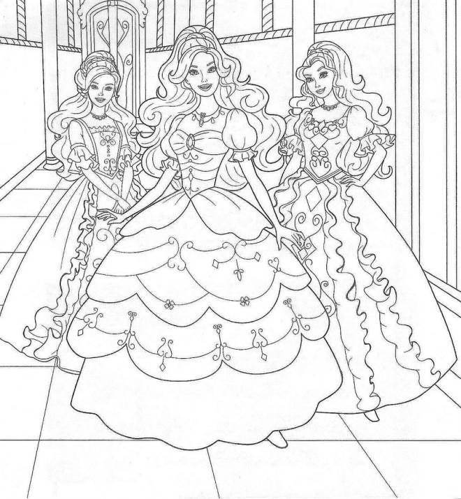 Coloriage et dessins gratuits Princesse Barbie dans Le Château à imprimer