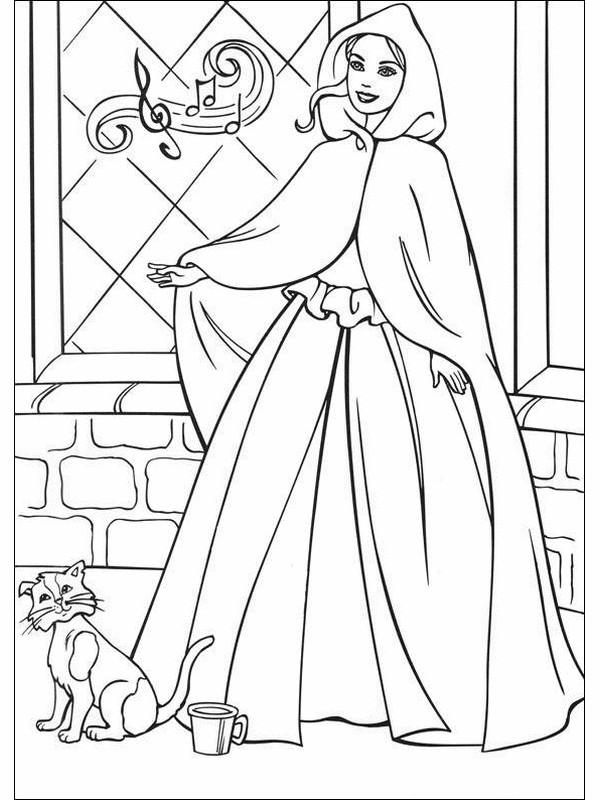 Coloriage et dessins gratuits Princesse Barbie en chantant à imprimer