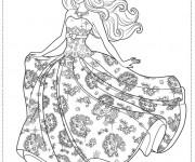 Coloriage Princesse Barbie en robe magnifique